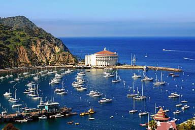 Avalon Harbor on Catalina Island looking towards the Casino